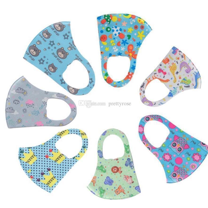 Designer niño activo máscaras protectoras de las muchachas de las máscaras de dibujos animados de la boca de la cara de los niños anti-polvo máscara transpirable Earloop reutilizable lavable de algodón