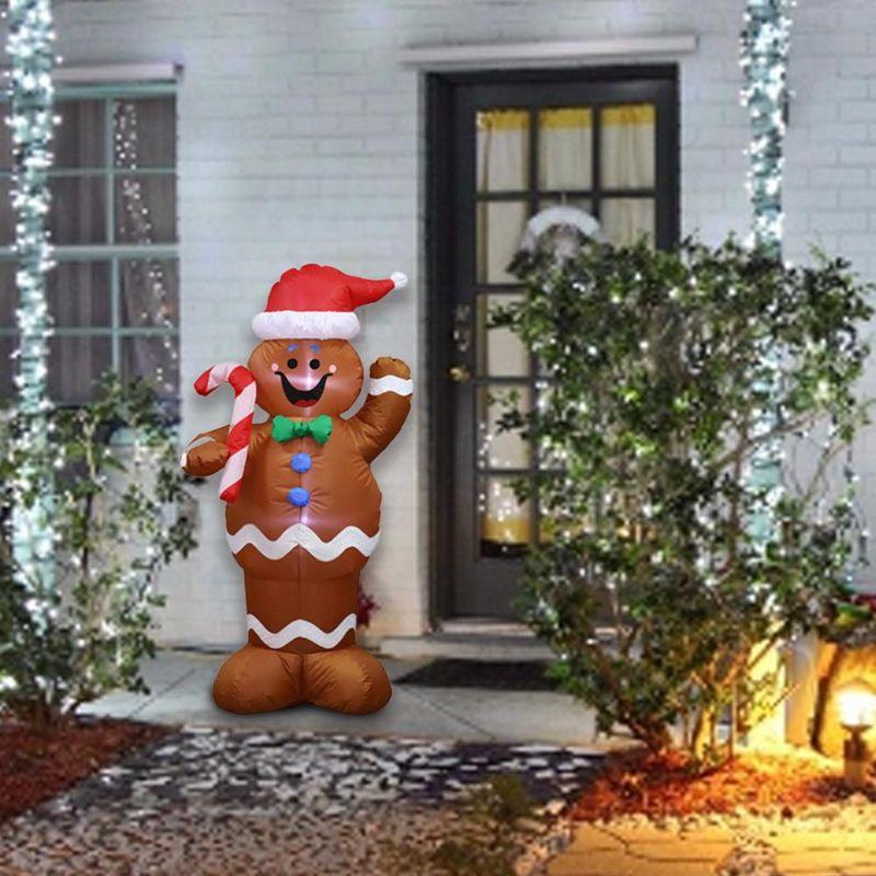 1.5 м надувные рождественские Санта-Клаус пряники снежный человек светодиодные украшения держать конфеты палку украшения для дома на открытом воздухе