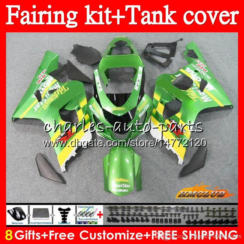 Vücut + Tank İçin SUZUKI GSXR600 gsxr750 Movistar yeşil GSXR600 600cc 2004 2005 66NO75 GSXR 600 750 CC K4 750cc GSX R600 gsxr750 04 05 Fairing