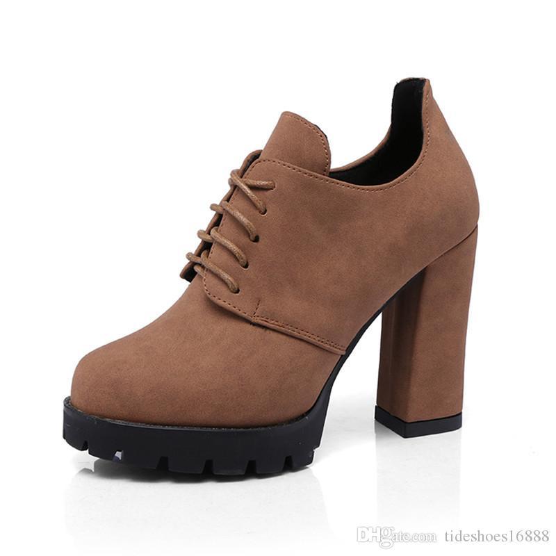 Starke Absätze Schnüren sich oben Pumps Frauen Schuhe Plattform High Heels 2019 Frühlingsmode Britischen Stil Runde Kappe Damen Arbeit Fersen