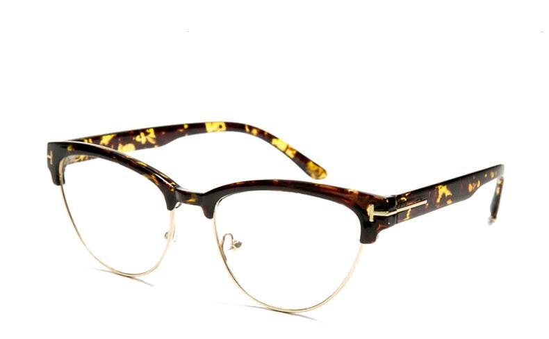Luxo-Mulheres Elegantes Meia moldura de olho de gato Armações de Óculos Âmbar marca designer de Óculos de Computador Quadros oculos De Grau F15031