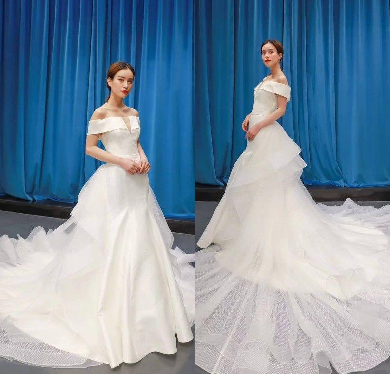 Satin Off Shoulder Mermaid Wedding Dresses Tiered Wave Ruffles Bridal Gowns Court Train Custom Made Formal Dress