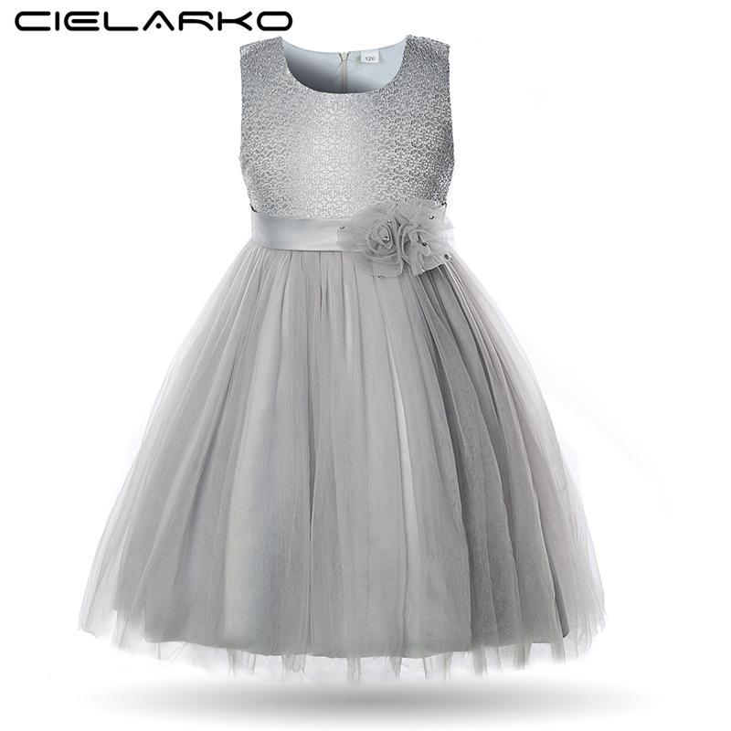 Cielarko Elegant Flower Girls Dress Lace Children Wedding Party Ball Gowns Kids Birthday Frocks Baby Dresses Clothes For Girl Y190515