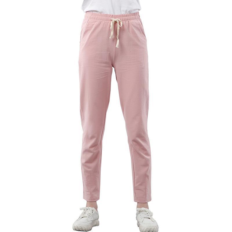 Brand Chic Loose Cotton Linen Pants Women Soft Harem Pants Breathable Slim Ankle Length Korean Leisure Hallen Black