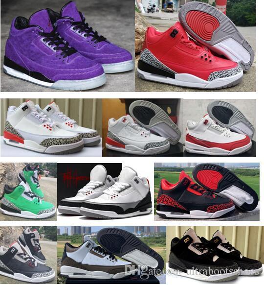 Chegada Nova Sapatos Jumpman 3 White Multicolor do arco-íris Sports Basquetebol baratos qualidade superior Mens Trainers 3s Designer Sneakers US 7-13 Com Box