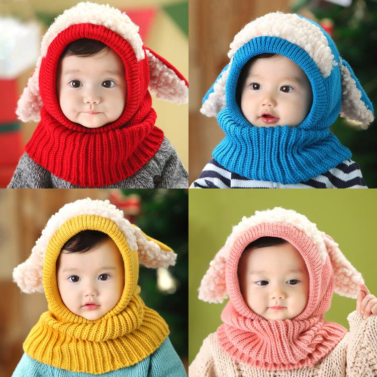 Kids Winter Hats Scarf Set Baby Cartton Cute Hat Christmas Gifts Girls Boys Children Crochet Warm Caps