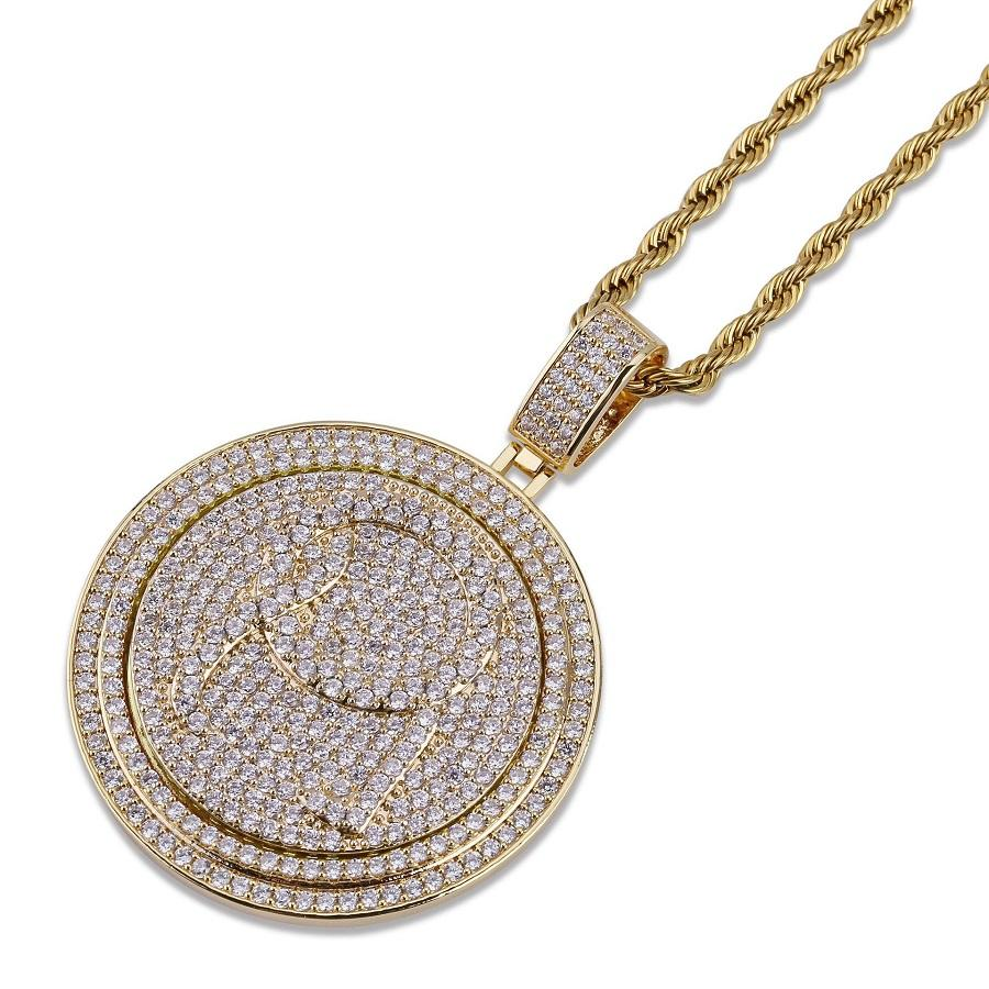 Men Hip Hop Jewelry Gold Silver Necklace Zircon Iced Out Disc Pendant Fashion Mens 18K Gold Chain Rotatable Double-Layer Disc Necklaces