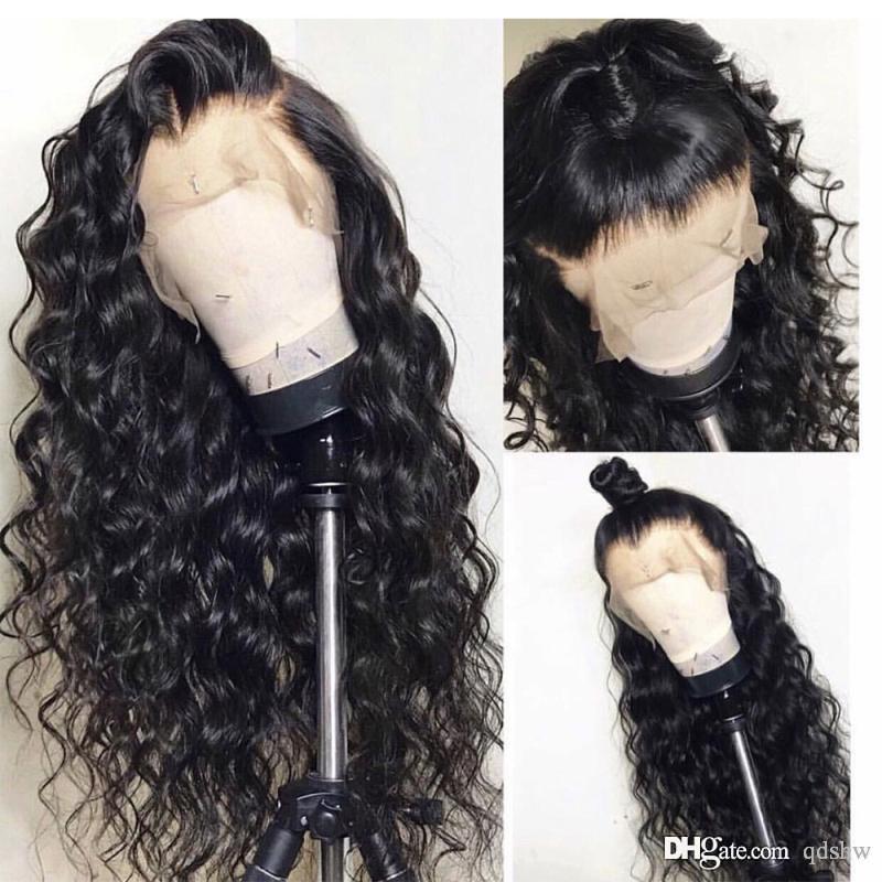 Перуанский глубокая волна фронта шнурка парик шнурка Pre щипковых Virgin Glueless Глубокий курчавый полный шнурка человеческих волос парики с ребенком волос