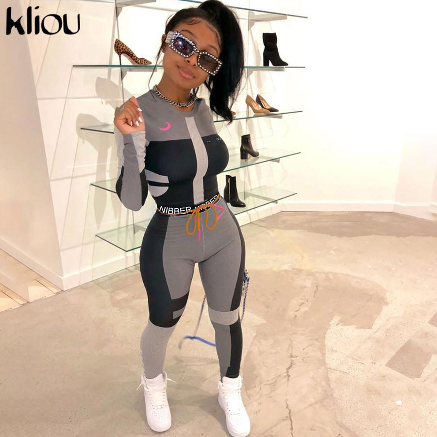 Kliou mulheres aptidão duas peças conjunto de treino longo letras superiores culturas luva imprimir sportswear leggings magro elásticas T191213 roupa fina