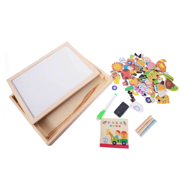 Giocattoli in legno Puzzle bambini Magnetico giocattolo educativo precoce Divertente colorato giocattolo in legno Montessori, fattoria