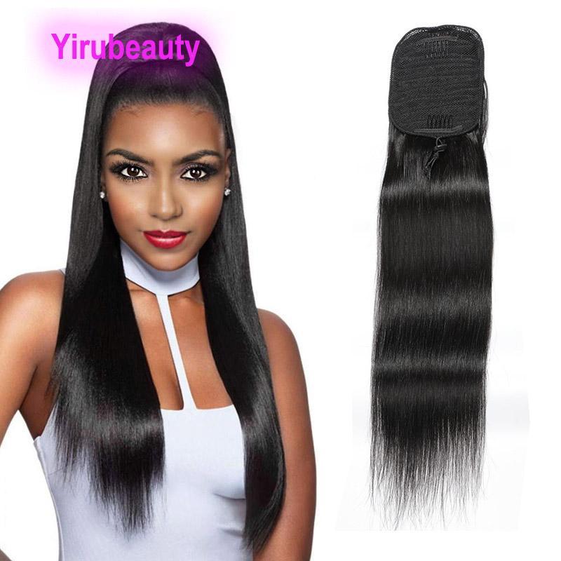 Índio brasileiro Ponytails reta de seda 8-22inch malaio 100% Extensões de cabelo humano em linha reta Pacote Rabo 100gram Yirubeauty