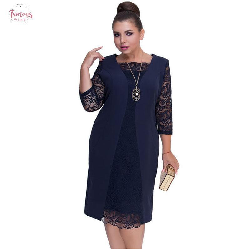 Bureau Automne Big Size Women Dress Lace Patchwork Taille Plus genou longueur robe d'hiver élégante de fête 2019 Robe Vestidos 6XL