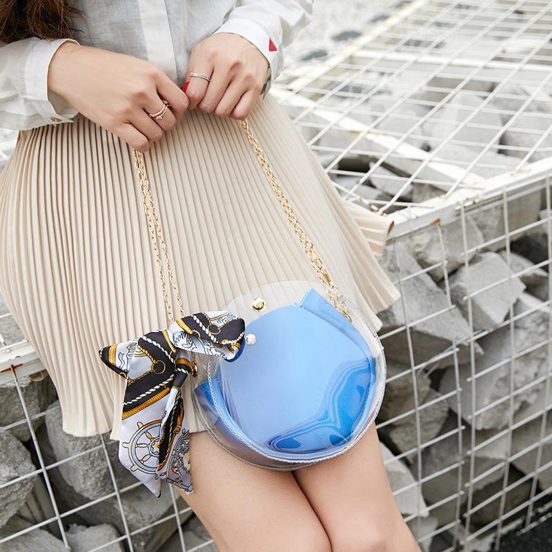 2020 neue Frauen-Umhängetasche New Korean-Art-Kette Transparent Gel beiläufige Art und Weise Minitasche Cool Schulter Messenger Bag