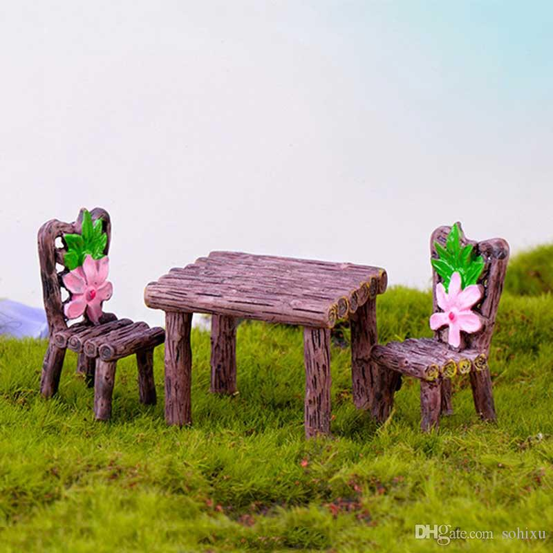 16pcs Vintage Flower Table Chair Resin Craft Terrarium Figurines Resin Fairy Garden Miniatures bonsai Tools jardin gnome Micro Landscape