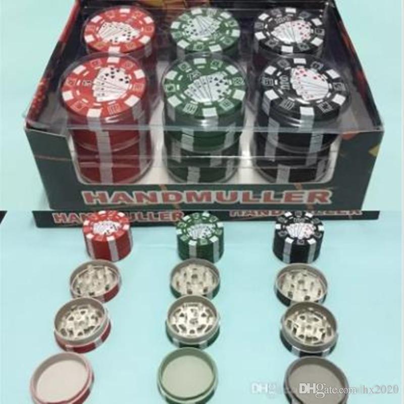 3 Camadas de Poker Chip Estilo Erva Fitoterapia tabaco Grinder Grinders Tubulação de fumo Acessórios dispositivo vermelho / verde / 12pcs Preto / lot 42,5 * 12pcs 28 milímetros 38g