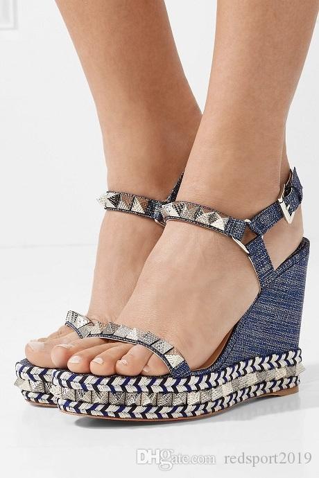 2018 Ünlü Marka Kadınlar Cataclou Sandalet Lüks Kırmızı Alt Pyraclou Kama Yüksek Topuklu Gladyatör Sandalet Düğün Gelin Kutusu Ile EU35-42