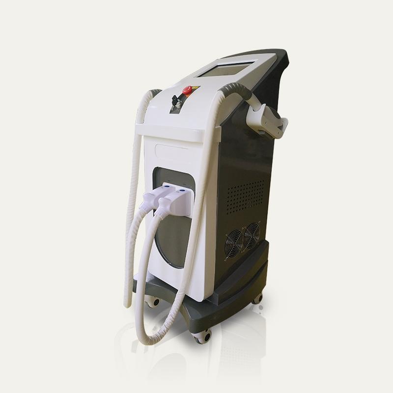 Горячая распродажа для вертикальных двух ручек IPL опция лазерное удаление волос IPL / ND YAG черная кукла машина ухода за кожей