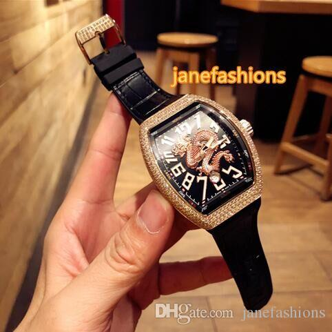 Rose gold diamond men's fashion watch black strap waterproof sports hot watch wine barrel type automatic mechanical watch free shipping