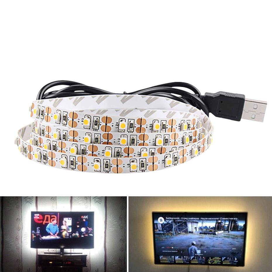 Faixa de LED USB 1M 2M 3M 4M 5M 5V Waterproof Quente branco / branco 2835 3528 flexível Led tira de fita para o fundo TV
