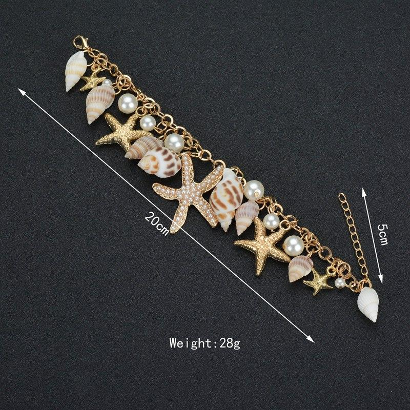 2019 Bracciale con stelle marine conchiglia di moda per donna Braccialetti con ciondoli da spiaggia estivi Bracciale a catena bohémien Boho Jewellery