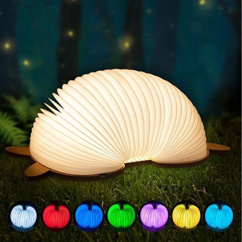 Büyük hediye sevimli karikatür desen hayvan şekli LED Katlanabilir katlama Kitap Şekli Masası Lambası Gece Işığı Booklight USB Şarj edilebilir toptan