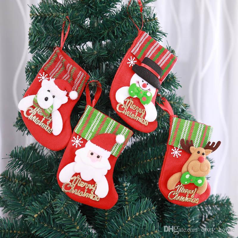 Christmas Decoration Christmas Stocking Mini Sock Santa Candy Gift Bag Xmas Tree Hanging Santa Claus Snowman Elk