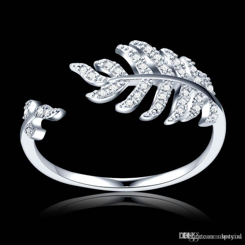 Hotyou Hotyou Frau Schmuck Mode Einfache Open Design-Blatt-Ring Persönlichkeit Weibliche Blumen-Ringe Trauringe für Frauen