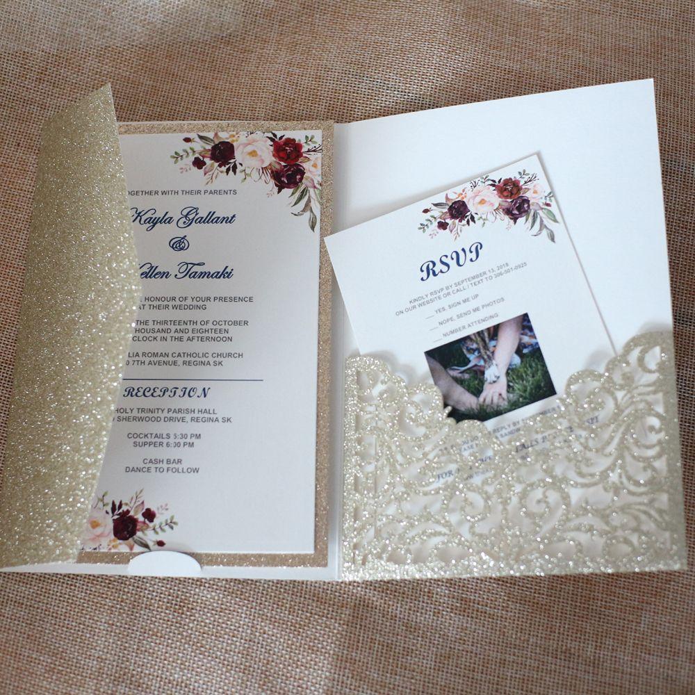 Шампанское Приглашения карты Для Свадебные душ Обручальное День рождения Выпускной - Блеск Laser Cut Карманный брак с RSVP Предлагает
