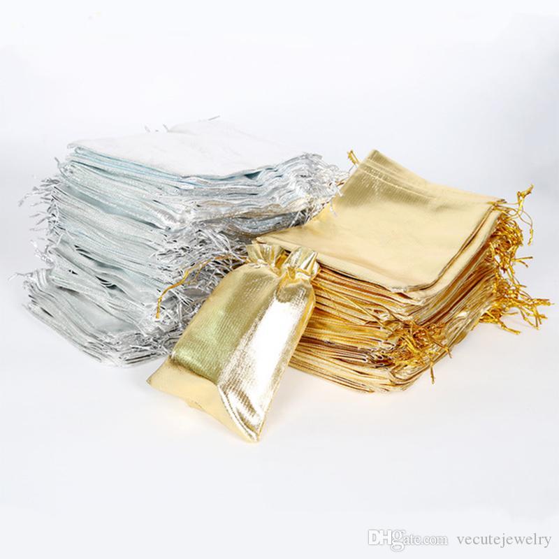 7x9 9x12 10x15 cm 13x18 cm Einstellbare Schmuckverpackung Gold Silber Farbe Kordelzug Drawable Organza Taschen Hochzeitsgeschenk Taschen Beutel
