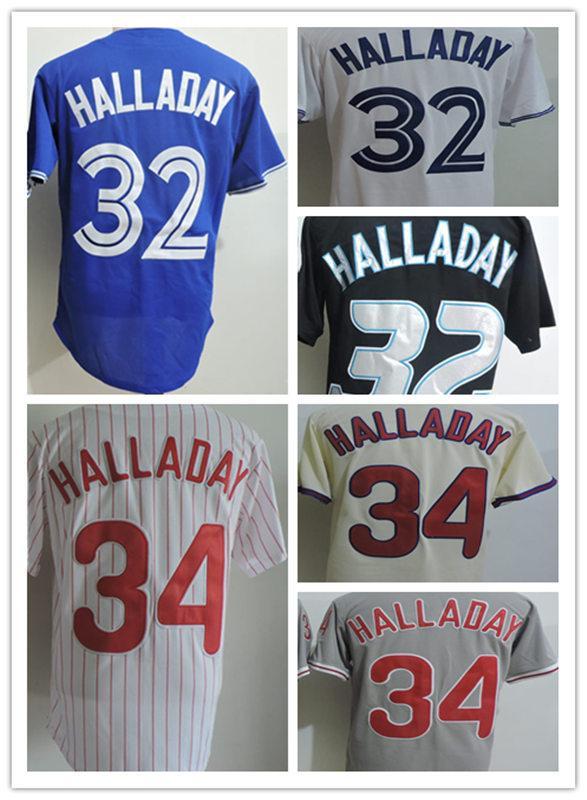 남성용 화이트 블루 블랙 # 32 Roy Halladay 토론토 저지 스티치 그레이 크림 # 34 Roy Halladay 2010 야구 저지 S-3XL