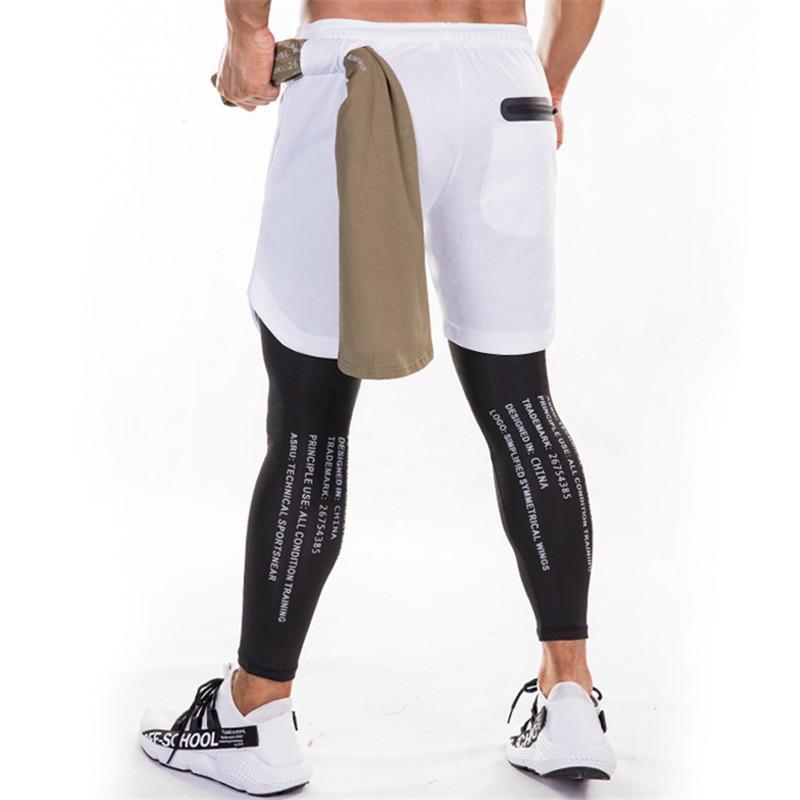Sweatpants Erkekler Şort ve taytlar 2in1 Spor Salonu Koşucular Pantolon İpli Bel Günlük Pantolon Running Fermuar Spor Pantolon