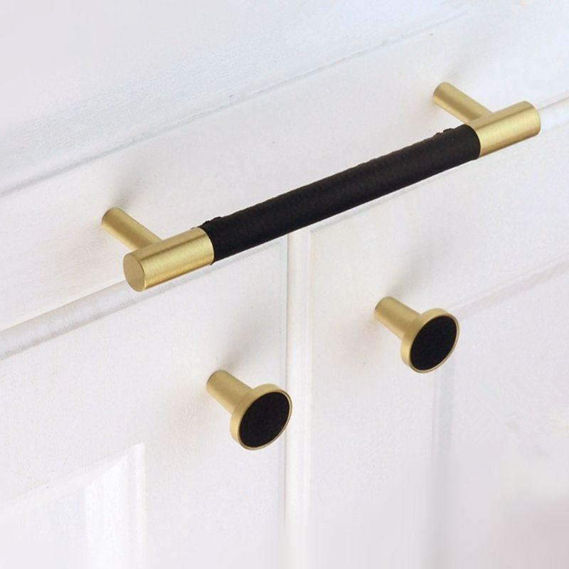 Moderno cuero negro Tbar gabinete perillas de cocina y tirones de latón cepillado oro cuarto de baño cajón aparador muebles manija Hardware