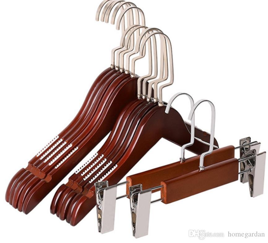 Household, hotel, clothing store adult children non-slip multi-size vintage solid wood hangers, hanging pants racks, clip hangers.