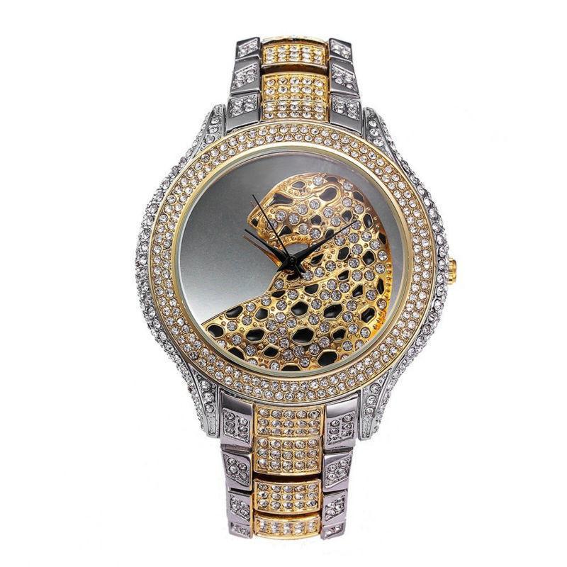 2017 Nouvelle Mode Argent Top Montres De Luxe de Haute Qualité Femmes Strass Cristal Quartz Montres Lady Leopard Robe Montres Y19021401