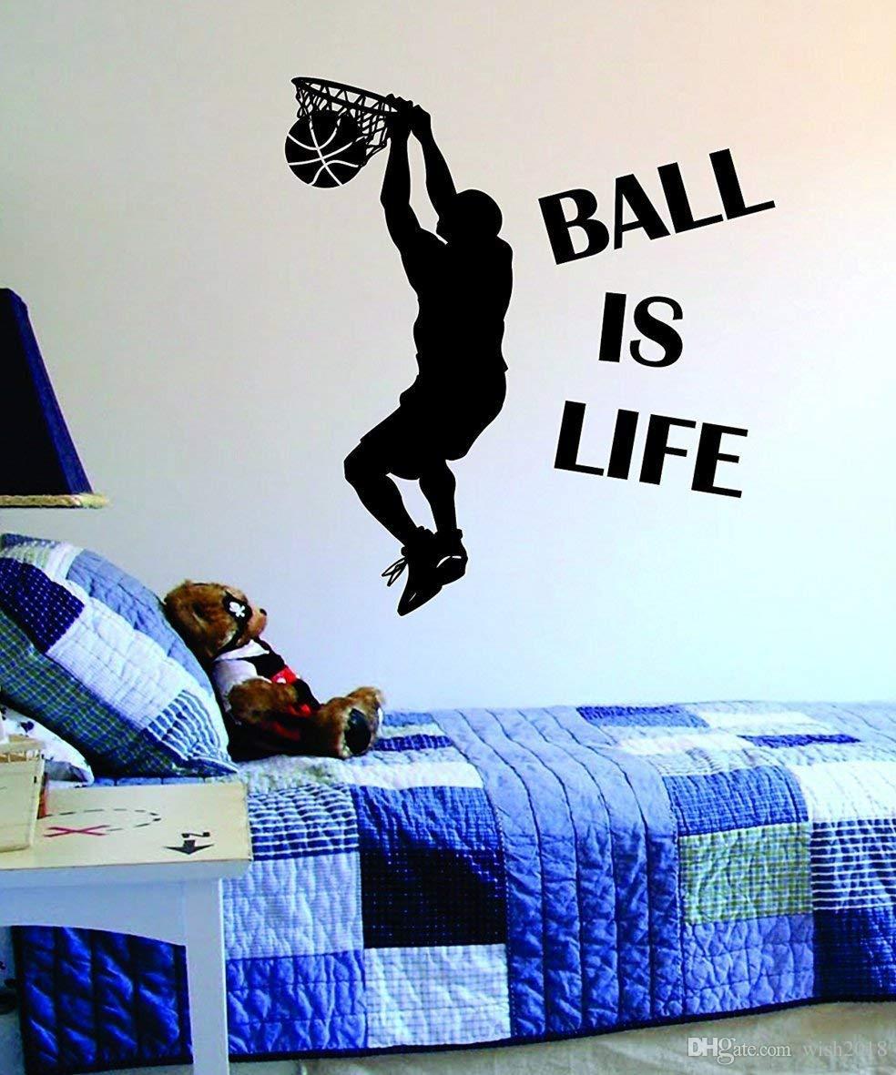 Ball Is Life Version 2 Basketball Court Wall Decal Vinyl Art Sticker Sport Boy Girl Teen Baby