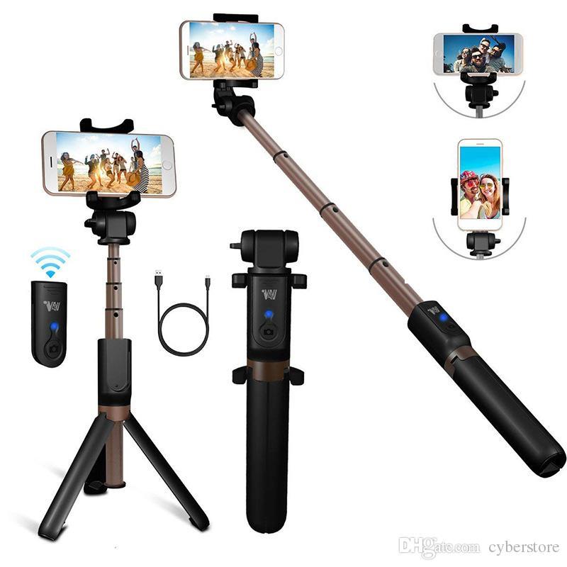 Bluetooth Ausziehbare Selfie-Stick mit drahtloser Fernauslöser Monopods Stativ für iPhone Samsung S10 Huawei Xiaomi Phone Smartphones