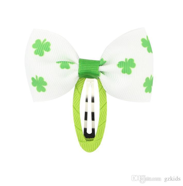 Clover bow BB clip for Girls Grosgrain Ribbon Handmade Green White st.Patrick's Day Hair Accessories
