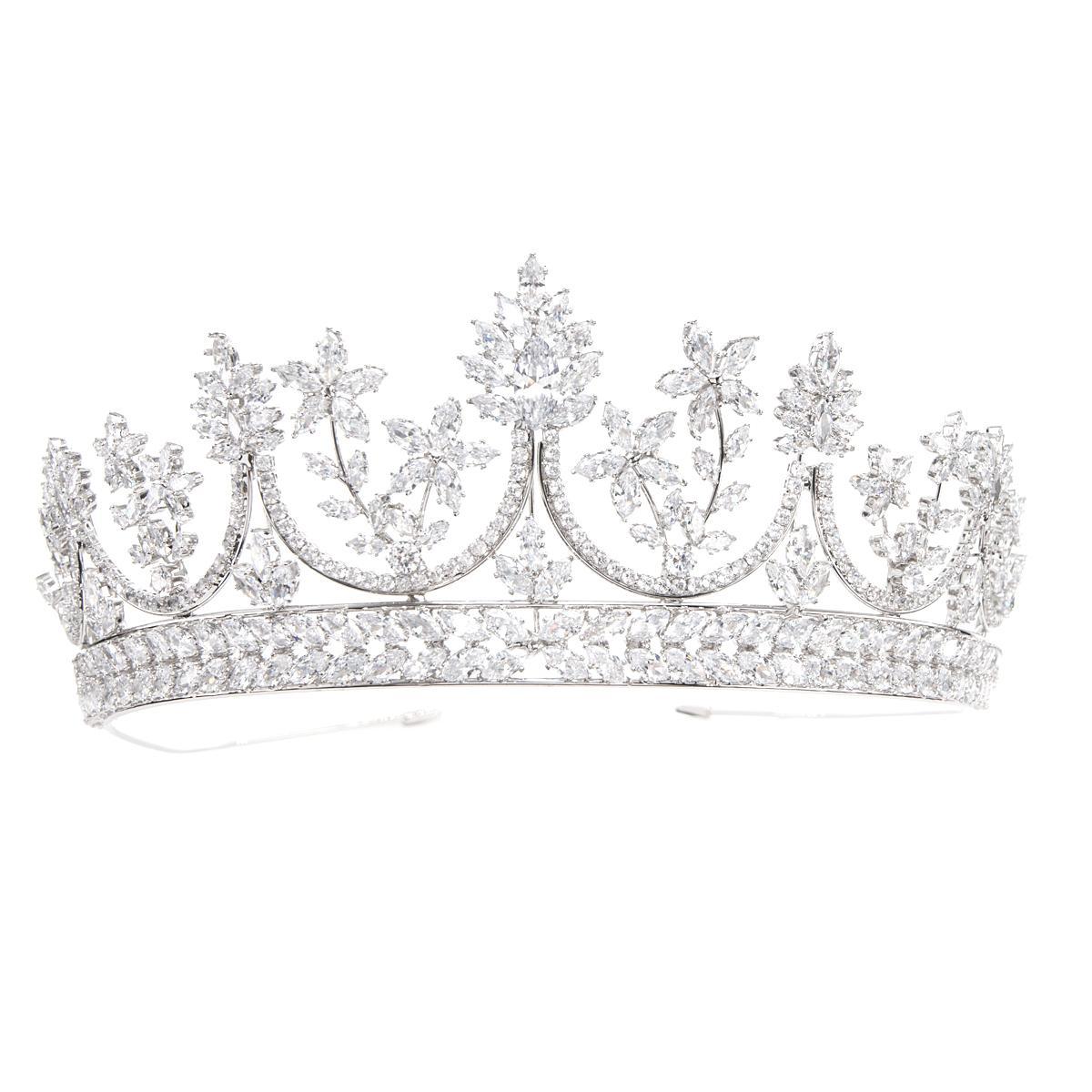 Fashional Kristaller Kübik Zirkonya Düğün Gelin Prenses Kraliyet Tiara Diadem Taç Kadınlar Balo Saç Takı Aksesuarları HG31251