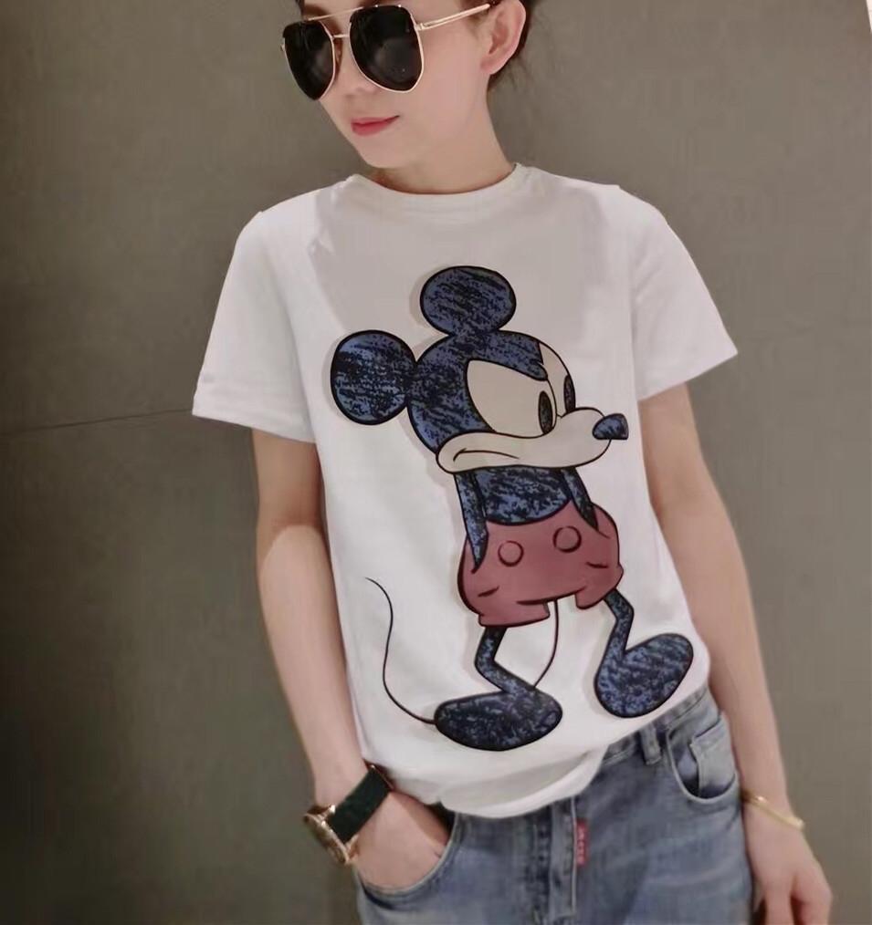 la moda europea de las mujeres 2020 impreso de manga corta camisa de la base camiseta del verano suelta la camisa blanca de las mujeres T-