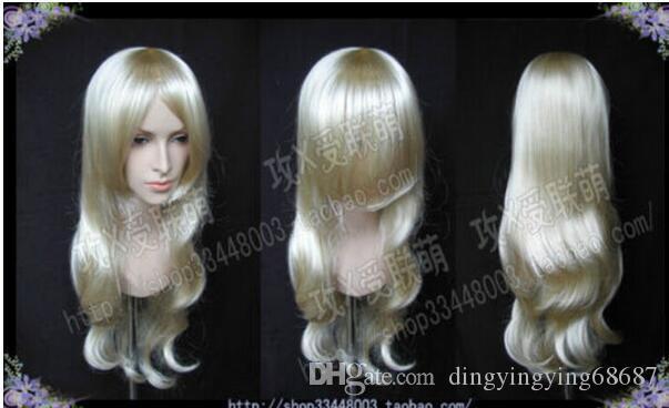 LIVRAISON GRATUITE + + Mode longue Platinum Blonde cosplay perruque de cheveux ondulés Parti