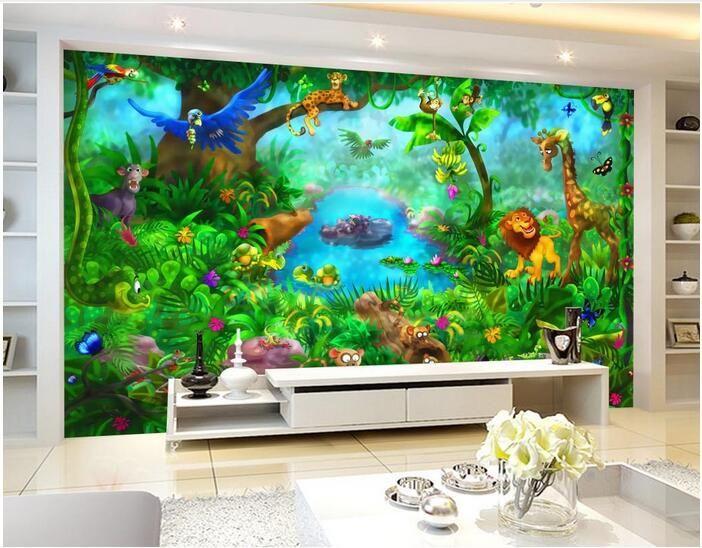 Papel de pared 3D para sala de estar Foto personalizada Cuento de hadas Animal del bosque Habitación para niños Decoración para el hogar Murales de pared 3D Papel tapiz para paredes 3 d