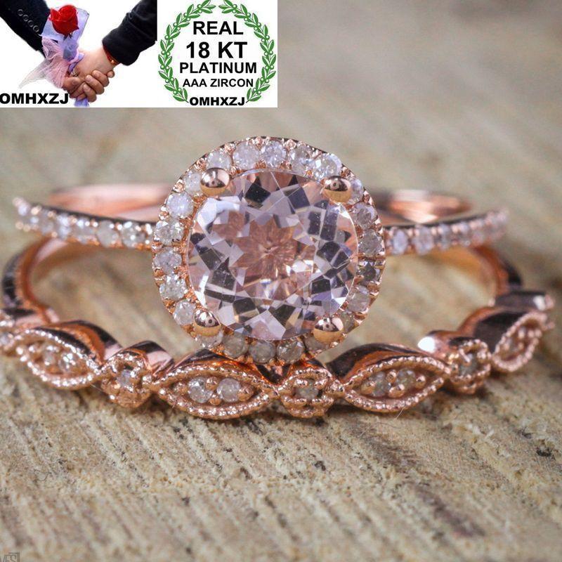 El regalo de boda de lujo del partido OMHXZJ hombre al por mayor de la manera europea Mujer Blanca Zircon 18K de oro rosa anillo Conjunto RR527