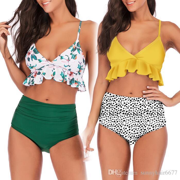 Gedruckt gekräuselten Quer plissierten hohe Taille Split neuen europäischen und amerikanischen reizvollen hohen Taille Bikini-Badeanzug 0071 Badeanzug