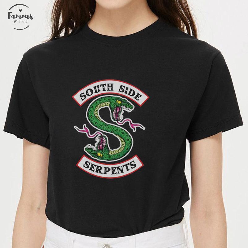 Riverdale T-Shirt Frauen-Sommer-Leinen Harajuku Tops South Side Serpents Female T-Shirt Riverdale Schlange gedruckt Lustige Vintage-T-Stücke Hemd