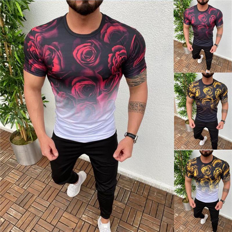 3D Gül Baskılı Erkek T-shirt Moda Tasarımcısı Stil Kısa Kollu Mürettebat Boyun Tshirts Mens Gradyan Renk Tops