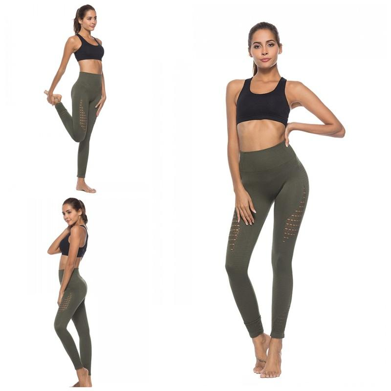 Sexy Stretchy Fitness Workout Pants Hip Lifting Hollowing Out Athletic Yoga Trousers Elastic Waist Gymwear Leggings Apparel Female 21yz E19