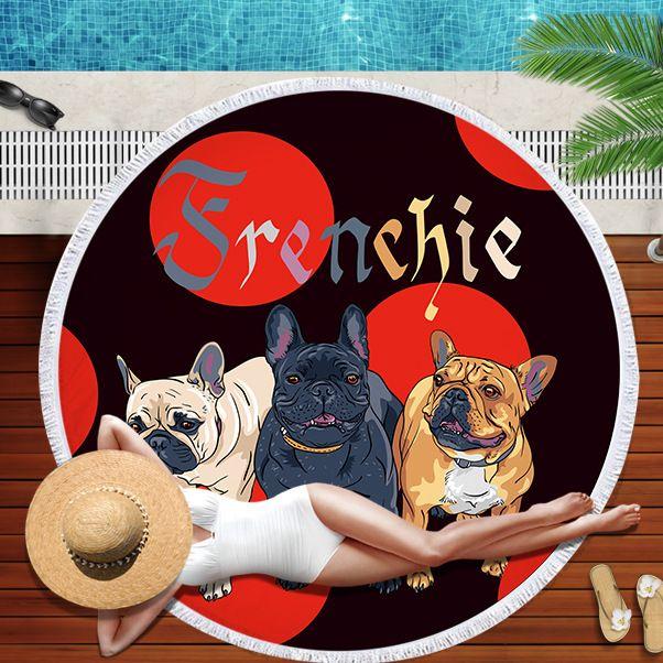 2019 New Cartoon Dog Animal Round Beach Towel Price Large Microfiber Mat Blanket Outdoors Sports Swimming beach towels drop ship in Towel