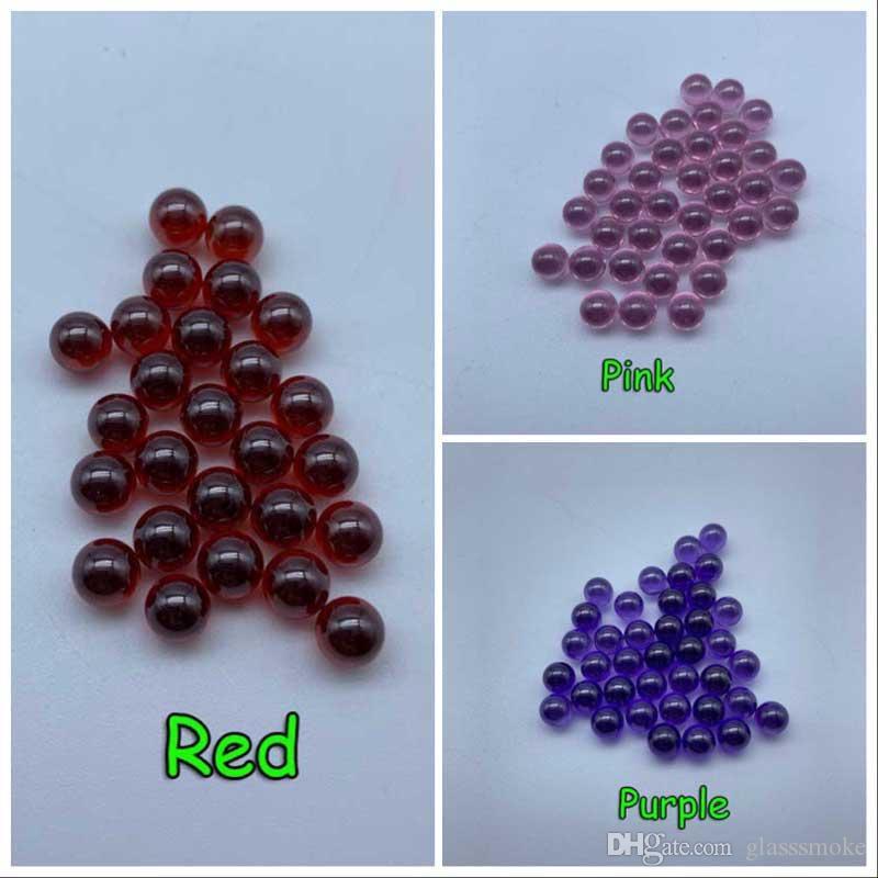 Nuovo 6 millimetri quarzo perle rosa Rosso Viola quarzo Terp perle con anello per il quarzo Banger Nails bicchiere d'acqua Bong Dab Rigs
