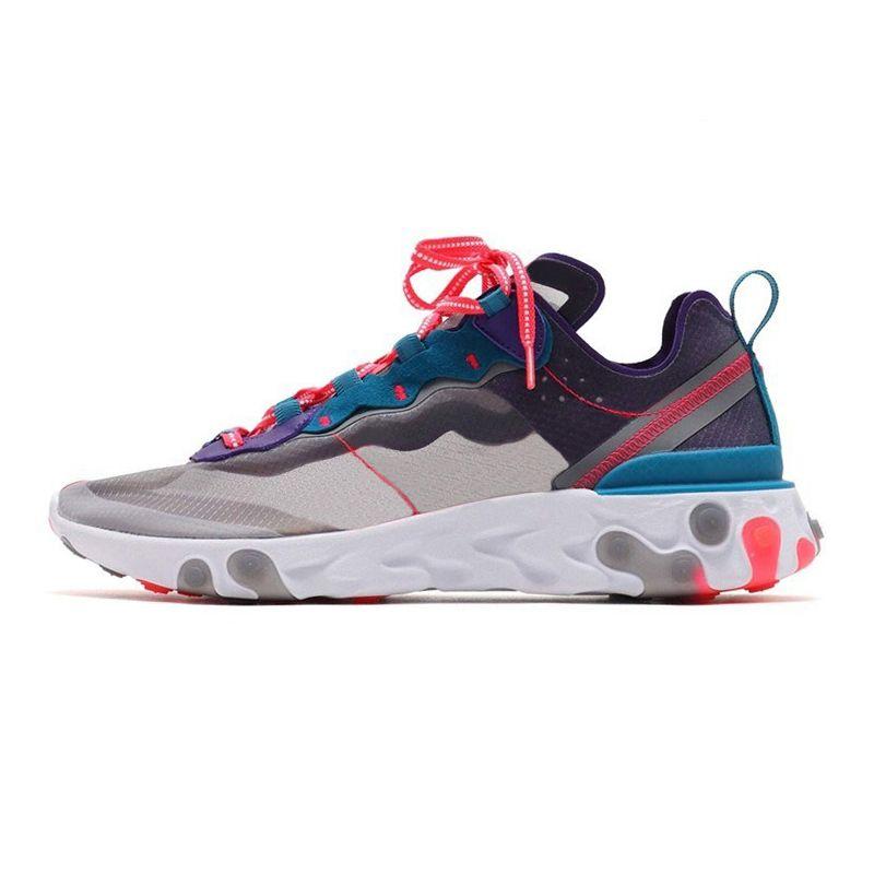 Acquista 2020 Nike React Element 55 87 Uomini Scarpe Da Corsa Da Donna Tour Giallo Triple Nero Moss Gold Ranger Sneaker Sportive Uomo Taglia 36 45 A
