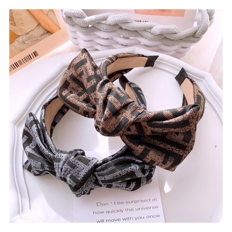 English letters bronzing printing wide margin large bow hair hoop hair card accessories Knot Wide-brimmed Broadside Fabric Kink Hairpin